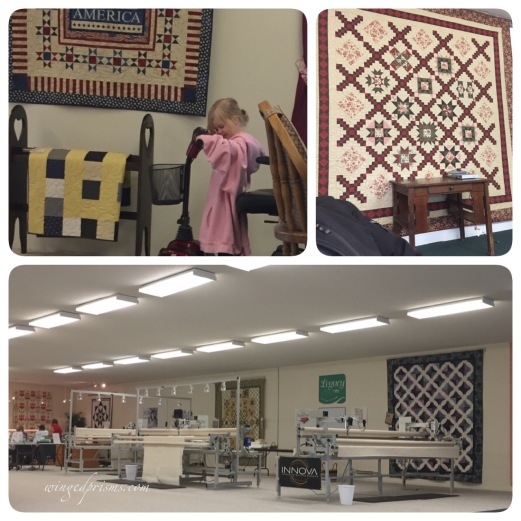 "Hunter Quilt Shop with little PJ hoping her""car"" will get moving"
