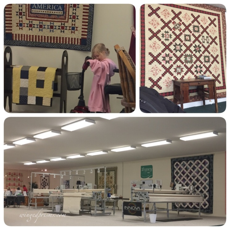 """Hunter Quilt Shop with little PJ hoping her""""car"""" will get moving"""